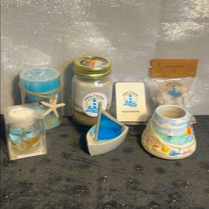 7 pc Yankee candle & Coastal Wickery Candle set